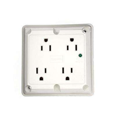 15 Amp Industrial Grade Heavy Duty 4-in-1 Grounding Surge Outlet with Indicator Light, White