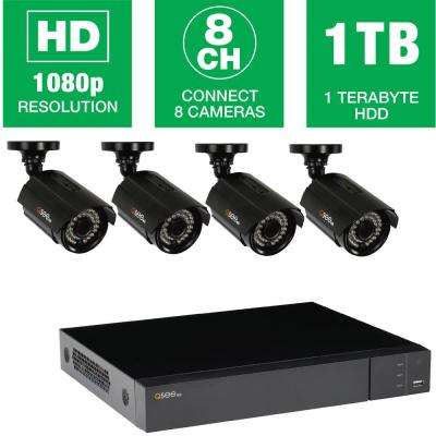 8-Channel 1080p 1TB Video Surveillance System with 4 HD Bullet Cameras, 100 ft. Night Vision