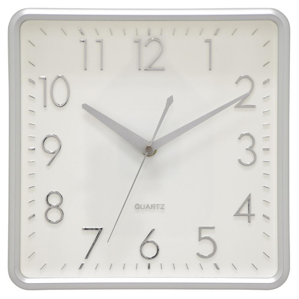 10 in. Matte Silver Wall Clock