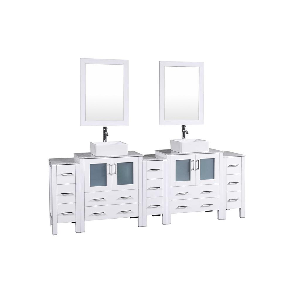 96 in. W Double Bath Vanity in White with Carrara Marble