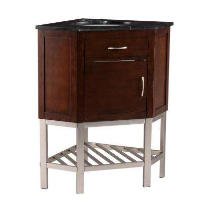 Bortsyn 32.5 in. W x 23.3 in. D Corner Bath Vanity in Dark Tobacco with Black Marble Vanity Top with White Basin