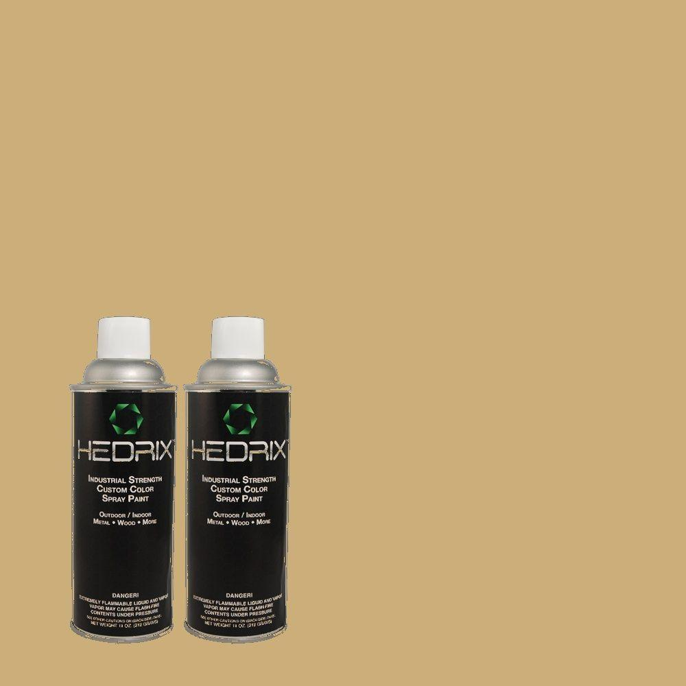 Hedrix 11 oz. Match of 366 Olive Branch Flat Custom Spray Paint (2-Pack)