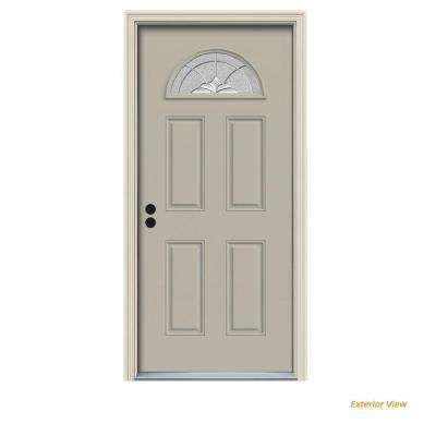 36 in. x 80 in. Fan Lite Langford Desert Sand Painted Steel Prehung Right-Hand Inswing Front Door w/Brickmould