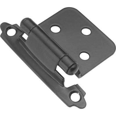 Surface Mount Black Self-Closing Overlay Hinge (2-Pack)