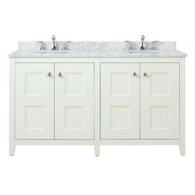 Union Square 60 in. W Vanity in White with Natural Marble Vanity Top in Grey and White with White Sink