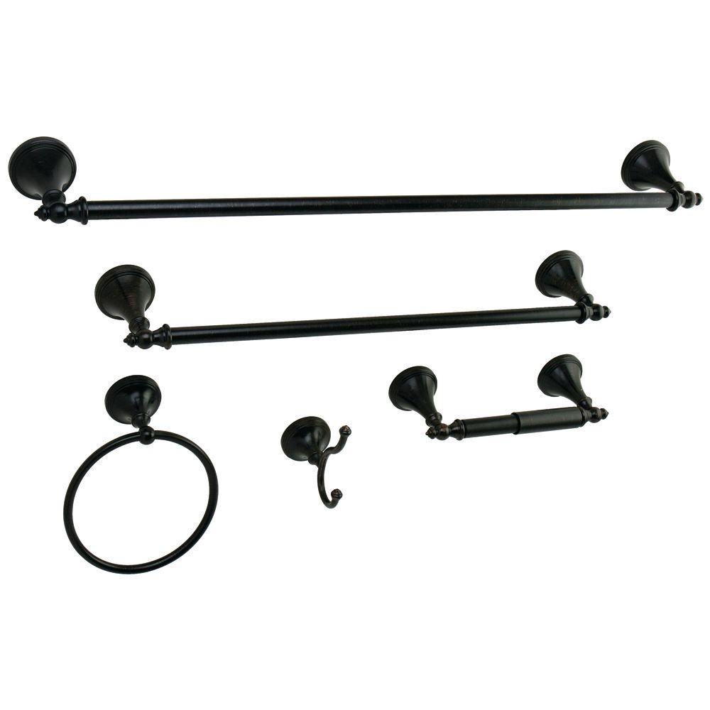 Kingston brass 5 piece bathroom accessory set in oil - Rubbed oil bronze bathroom accessories ...