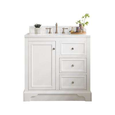 De Soto 36 in. W Single Bath Vanity in Bright White with Soild Surface Vanity Top in Arctic Fall with White Basin