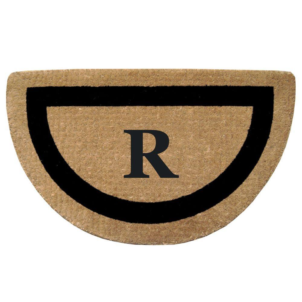 Single Picture Frame Black 22 in. x 36 in. HeavyDuty Coir Half Round Monogrammed R Door Mat