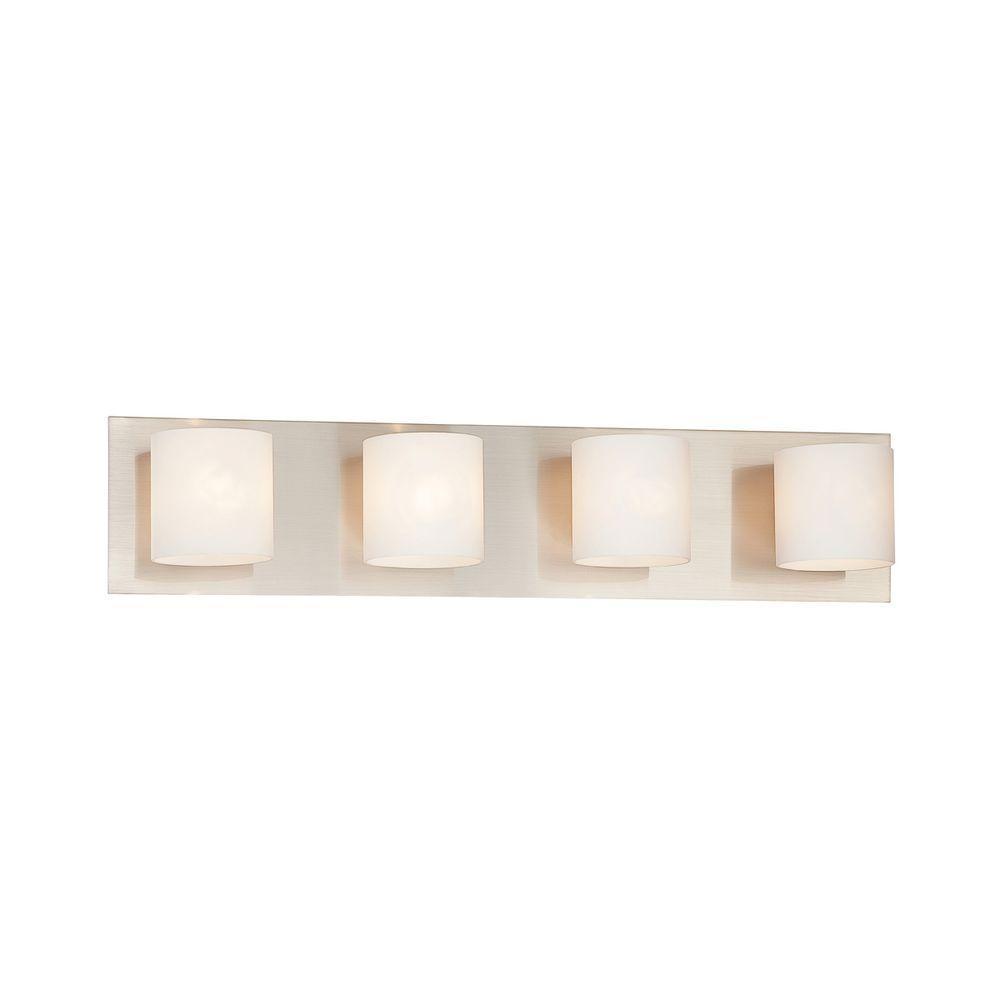 Eurofase Geos Collection 4-Light Satin Nickel Bath Bar Light-20380 ...