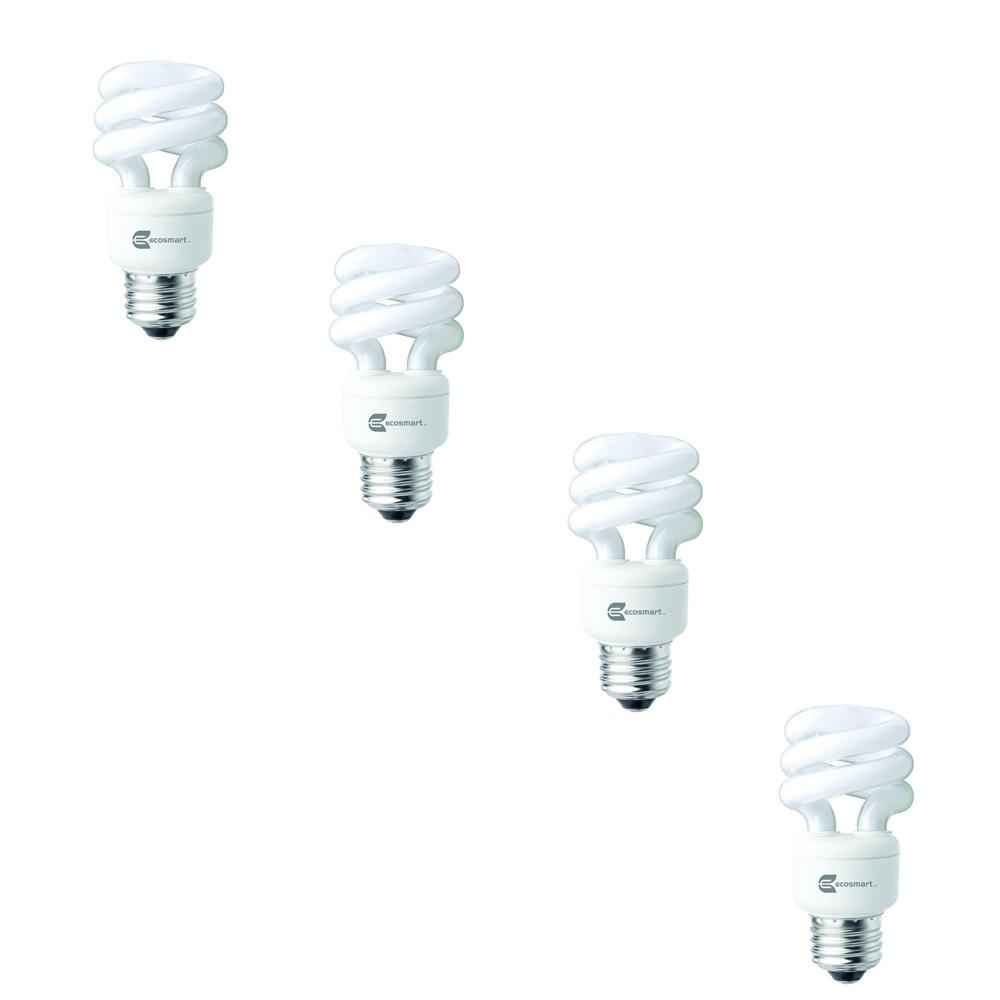40W Equivalent Soft White (2,700K) Spiral CFL Light Bulbs (4-Pack)