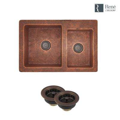 Farmhouse Apron Front Copper 33-1/4 in. Double Bowl Kitchen Sink