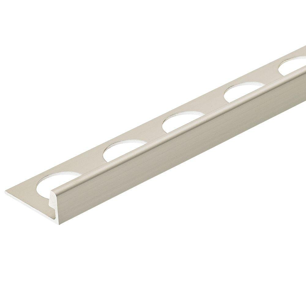 Custom Building Products Satin Silver Anodized 3/8 In. X 98 1/2 In. Aluminum  L Shaped Tile Edging Trim H8702MA98   The Home Depot