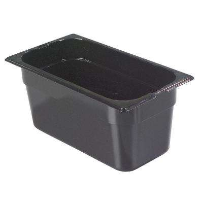 1/3 Size, 5.70 qt., 6 in. D Polycarbonate Food Pan in Black, Lid not Included (Case of 6)