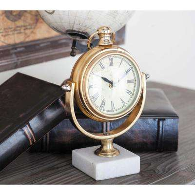 Classic 7 in. x 10 in. Iron Table Clock in Polished Gold with Swivel Design