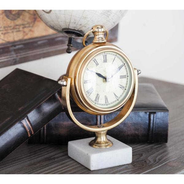 Incroyable Iron Table Clock In Polished Gold