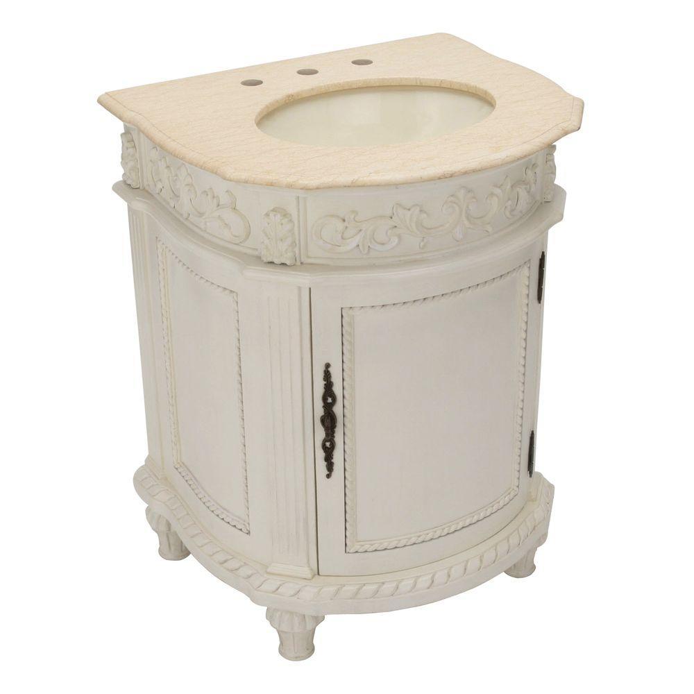 Home Decorators Collection Chelsea 26 in. W x 22 in. D Vanity in Antique Ivory with Granite Vanity Top in Cream