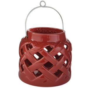 5 in. H Ceramic Lantern in Red
