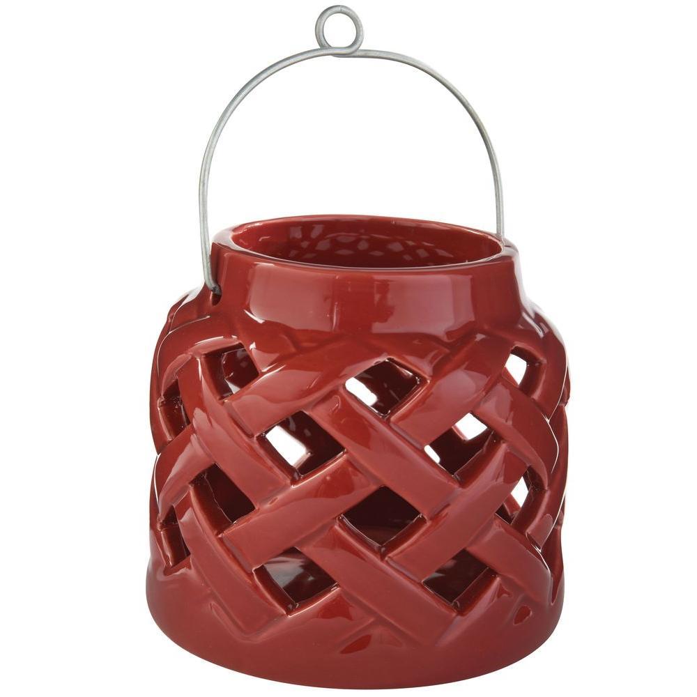 5 in. H Ceramic Lantern in Red