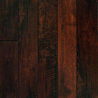 Take Home Sample - Hand Scraped Maple Chocolate Solid Hardwood Flooring - 5 in. x 7 in.