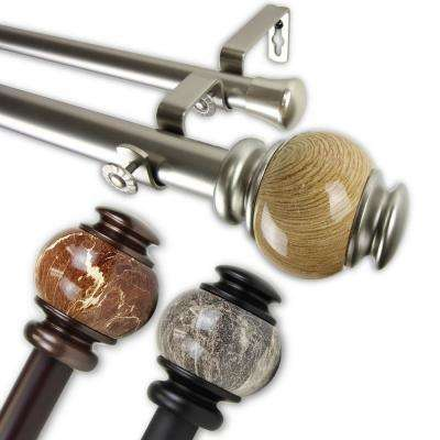 Polychrome 1 in. Double Curtain Rod 120 in. to 170 in. in Satin Nickel