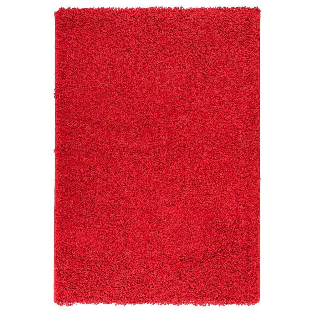 4a2325c69c974 Berrnour Home Plush Solid Shaggy Dark Red 5 ft. x 7 ft. Shag Area ...