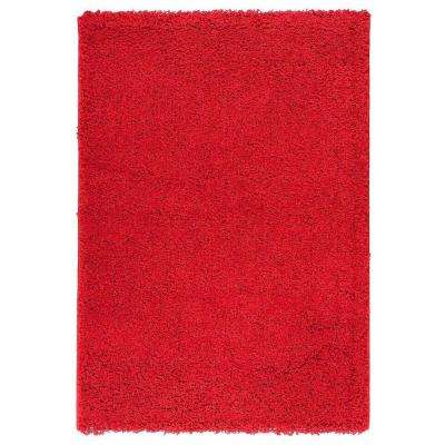 Plush Solid Shaggy Dark Red 5 ft. x 7 ft. Shag Area Rug