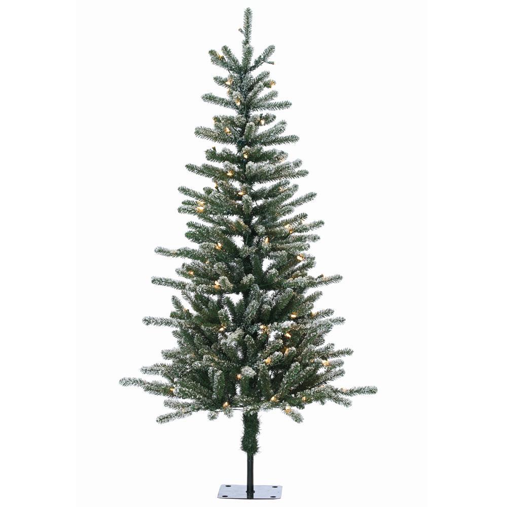 Pre Lit Flocked Artificial Christmas Trees: STERLING 5 Ft. Pre-Lit Bridgeport Pine Artificial