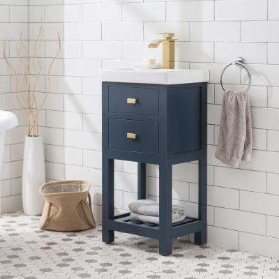 VERA 18 in. W Bath Vanity in Monarch Blue Finish with Ceramics Integrated Vanity Top with White Basin
