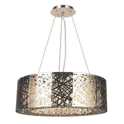 Aramis 10-Light Polished Chrome and Clear Crystals Oval Pendant Chandelier