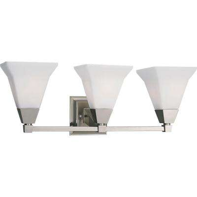 Glenmont Collection 3-Light Brushed Nickel Bathroom Vanity Light with Glass Shades