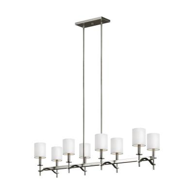 Hewitt 8-Light Satin Nickel Linear Chandelier with White Lined Parchment Shades
