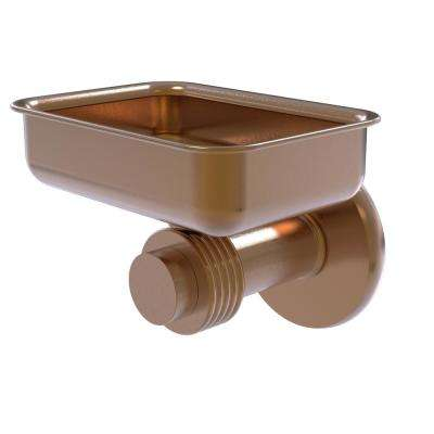 Mercury Collection Wall Mounted Soap Dish with Groovy Accents in Brushed Bronze