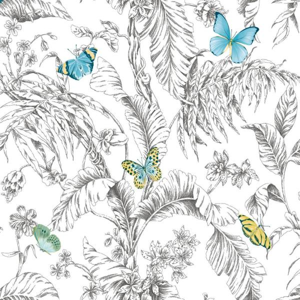 RoomMates 28.29 sq. ft. Butterfly Sketch Peel and Stick Wallpaper RMK11360RL