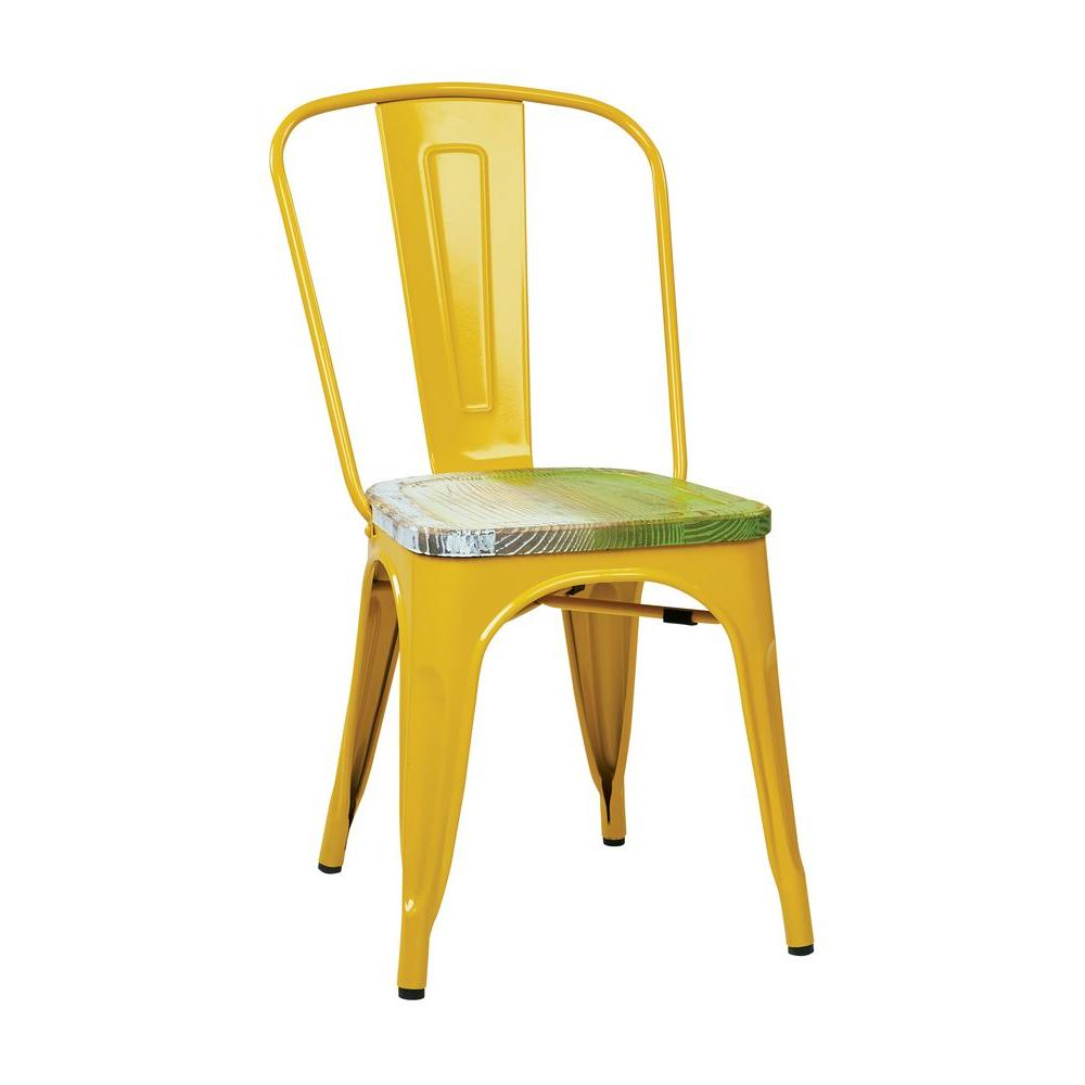 OSP Designs Bristow Yellow And Pine Alice Metal/Wood Side Chair (Set Of 4