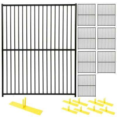 6 ft. x 40 ft. 8-Panel Black Powder-Coated European Style Welded Wire Temporary Fencing
