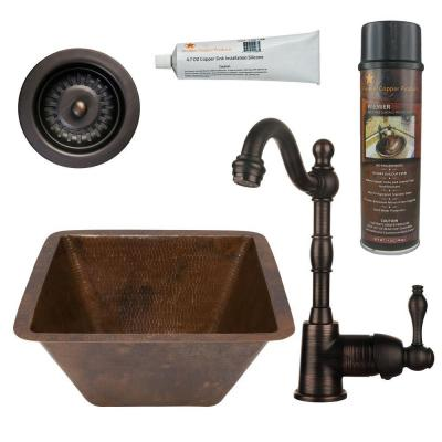 All-in-One Dual Mount Copper 15 in. Square Bar/Prep Sink with Faucet and 3.5 in. Strainer Drain in Oil Rubbed Bronze