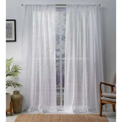 Santos 54 in. W x 108 in. L Sheer Rod Pocket Top Curtain Panel in Winter White (2 Panels)