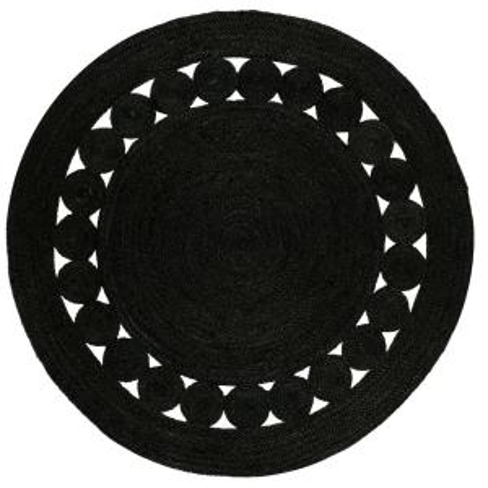 Natural Fiber Black 3 ft. x 3 ft. Round Indoor Area Rug