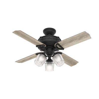 Brunswick 44 in. LED Indoor Natural Iron Ceiling Fan with 3-Light Kit and Handheld Remote Control