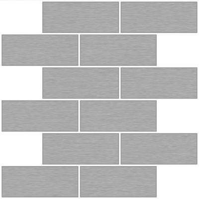 10 in. x 10 in. Metro Brushed Silver Peel and Stick Backsplash Tiles