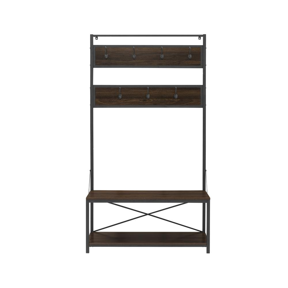 Walker Edison Furniture Company 72 In Dark Walnut Industrial Metal And Wood Hall Tree Hdt72mwdw