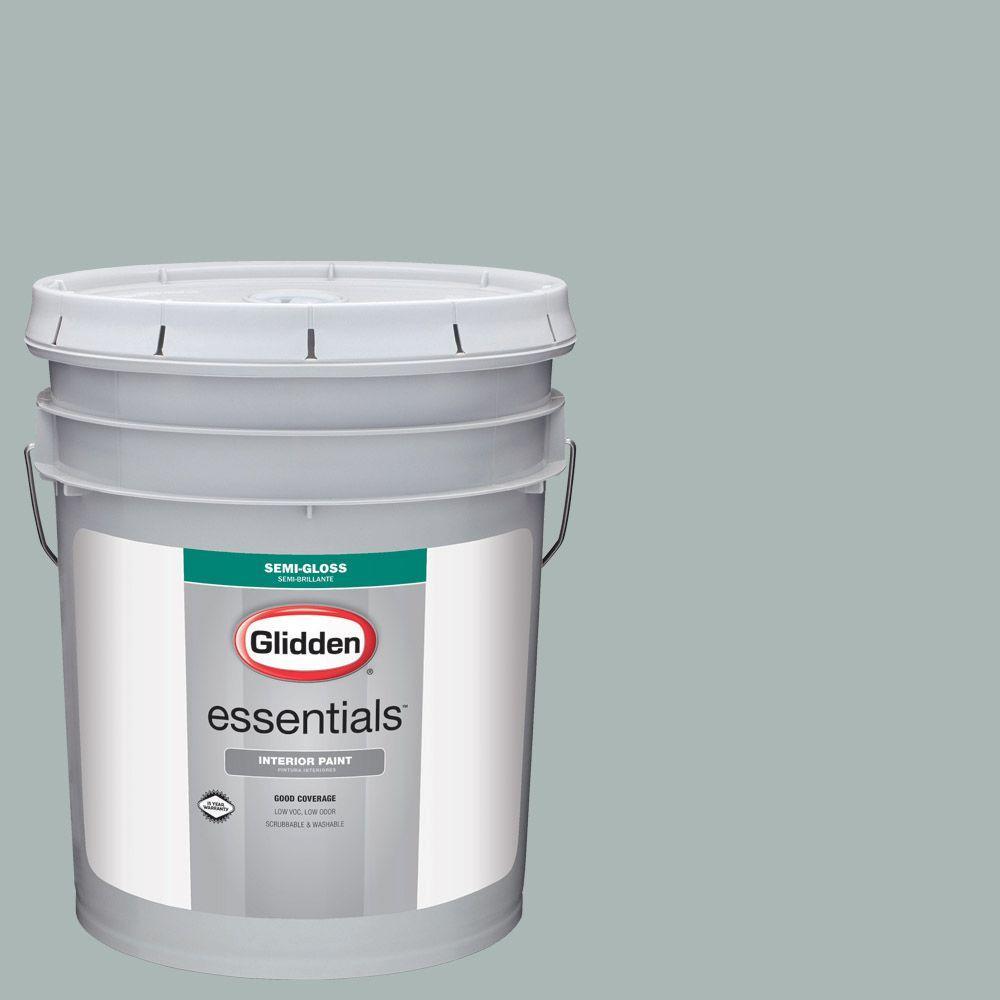 Glidden Essentials 5 Gal Hdgcn20u Summer Shower Green Semi Gloss Interior Paint Hdgcn20ue 01sd The Home Depot