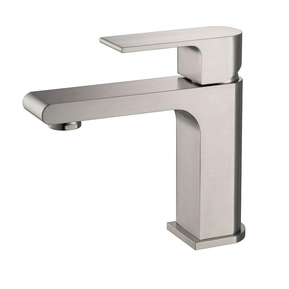 Fresca allaro single hole single handle low arc bathroom - Single hole bathroom faucets brushed nickel ...