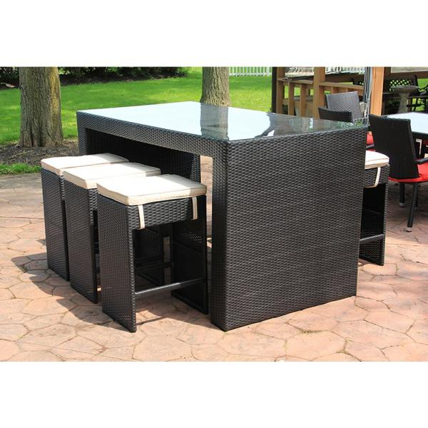 Cc Outdoor Living 7 In To Piece Black Resin Wicker Furniture Bar Dining Set