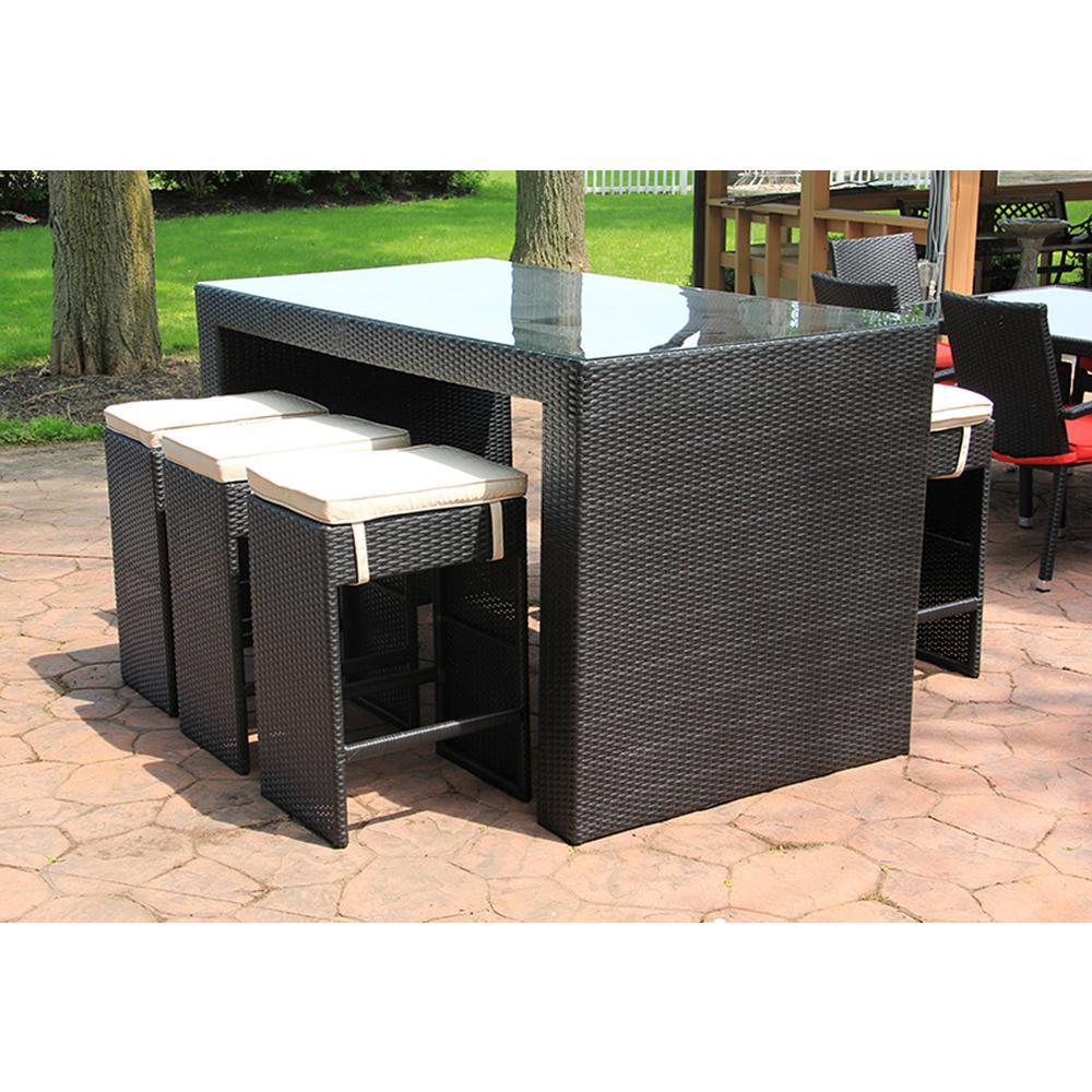 Piece Black Resin Wicker Outdoor