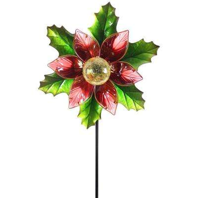 Solar Kinetic 21 in. Christmas Garden Stake - Poinsettia