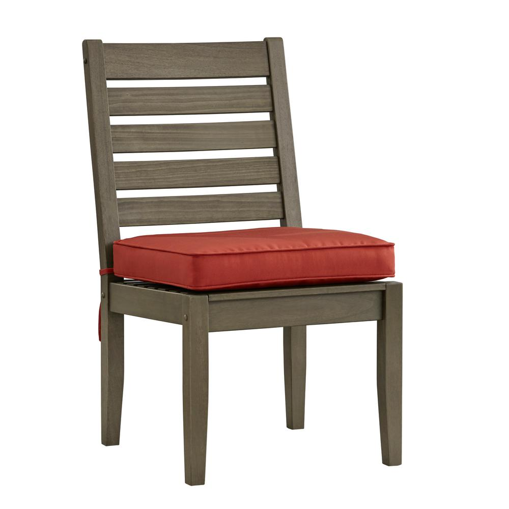 Verdon Gorge Gray Wood Outdoor Dining Chair with Red Cushion (2-Pack)