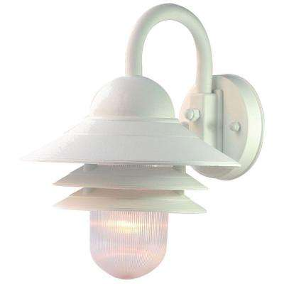 Mariner Collection 1-Light Textured White Outdoor Wall-Mount Light Fixture