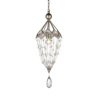 Pembina 1-Light Speckled Nickel Pendant