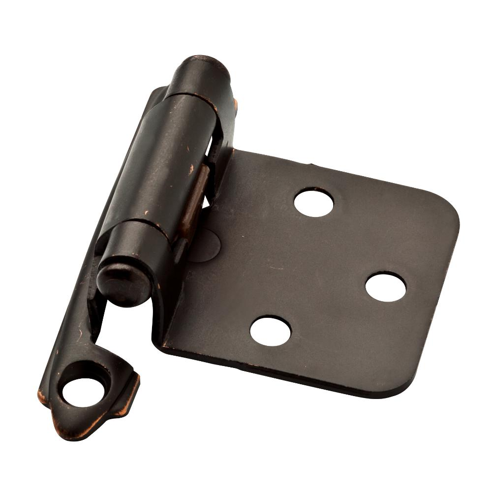 Venetian Bronze with Copper Highlights Self-Closing Overlay Hinge (1-Pair)